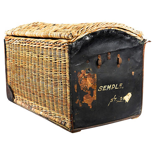 Dome-Top Wicker & Leather Trunk