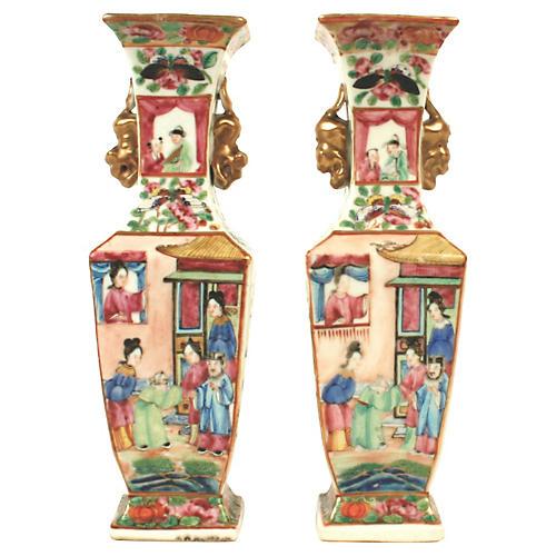 Rose Mandarin Porcelain Vases, S/2