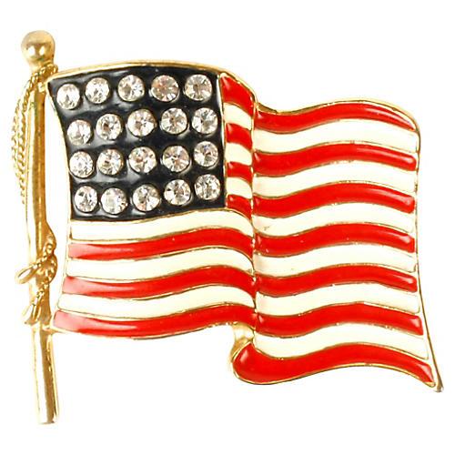 Goldtone, Rhinestone & Enamel Flag Pin