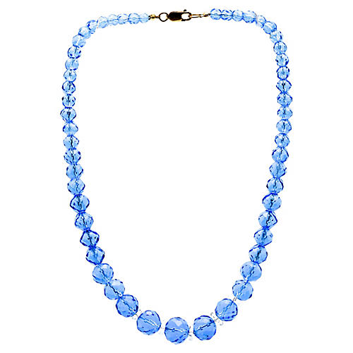 Graduated Deep Blue Crystal Necklace