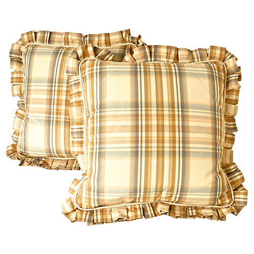 Plaid Ruffled Pillows, Pair