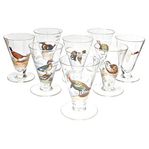 8 Gilt Trimmed Game Bird Cordial Glasses