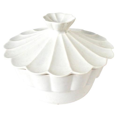California Pottery Scalloped Mold w/ Lid