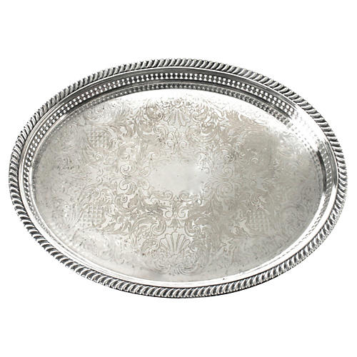 Silverplate Oval Tray w/ Pierced Gallery