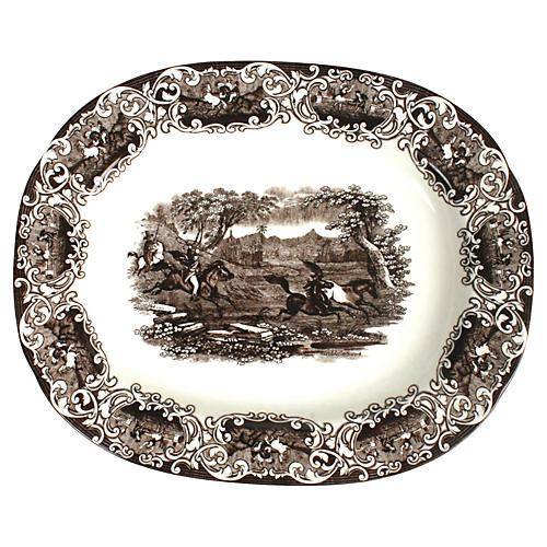 Brown & White Wild Horse Platter