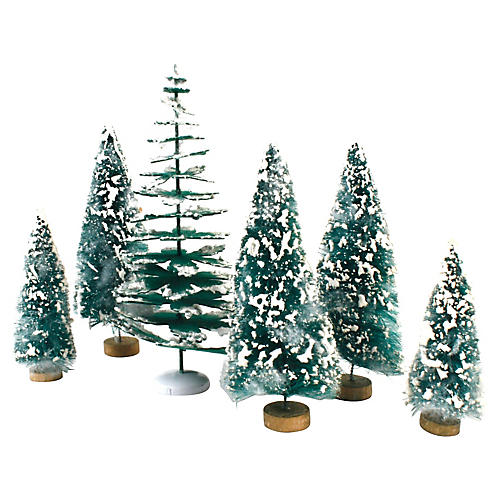 Flocked Pine Trees, S/6