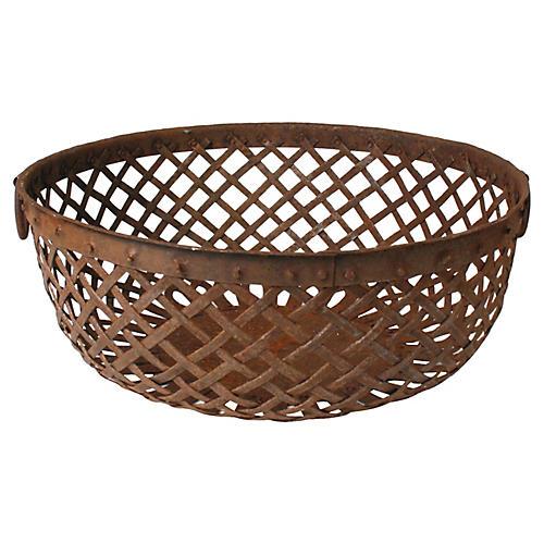 Patinated Metal Basket