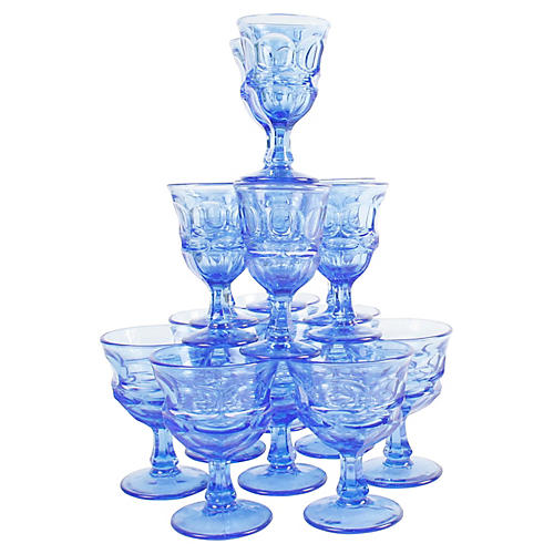 Collection of Blue Glass Stemware