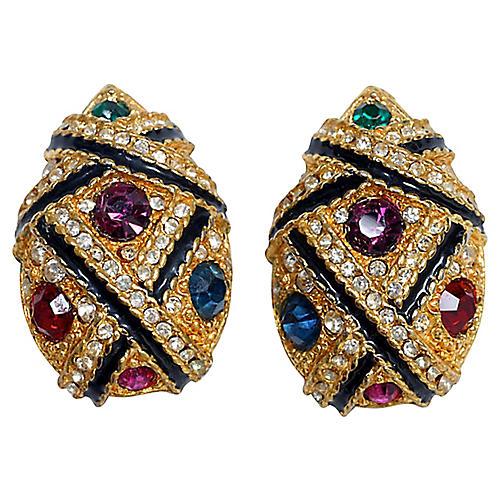 Goldtone & Rhinestone Clip Back Earrings