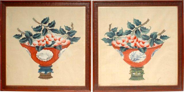 Chinese Watercolors, Pair