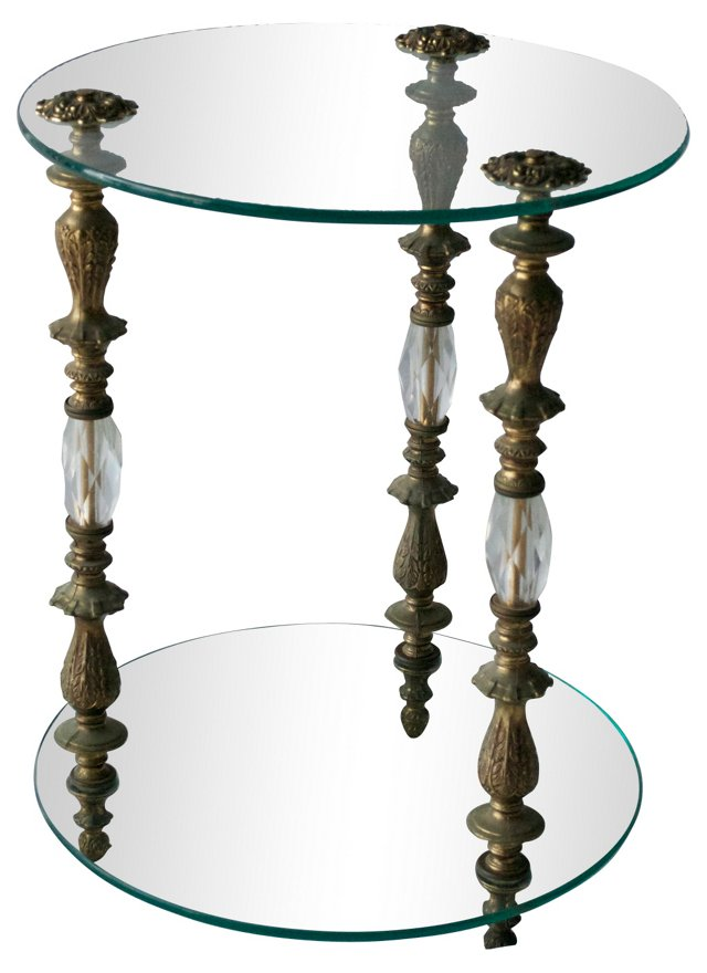 1960s Glass & Brass End Table