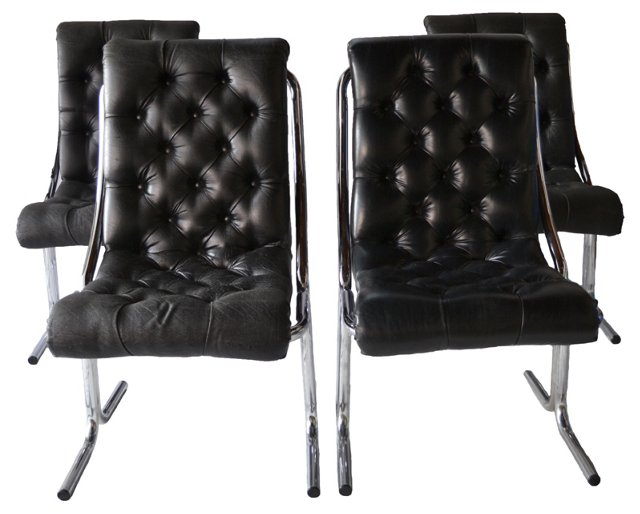1970s Tufted Dining Chairs, S/4