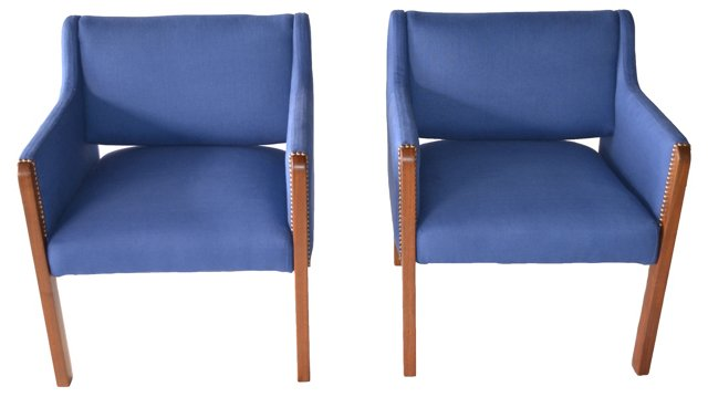 Blue Linen Chairs, Pair