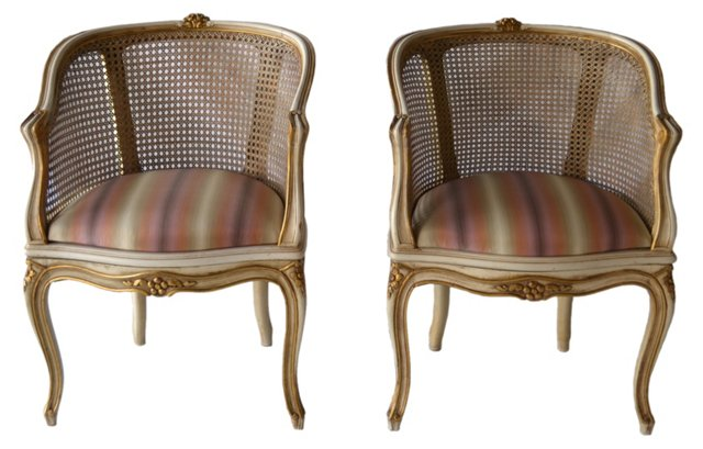 Caned Barrel Chairs,  Pair