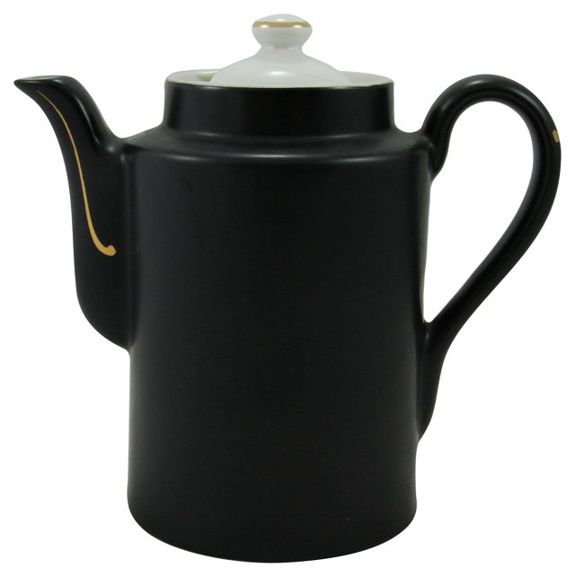 Hall's Black Satin & Gold Coffee Pot