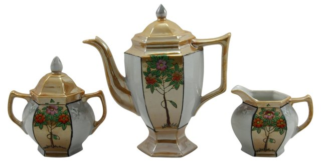 Japanese Lusterware Tea Set, 3 Pcs