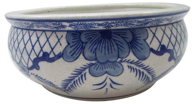 Asian Blue & White Floral Bowl Planter