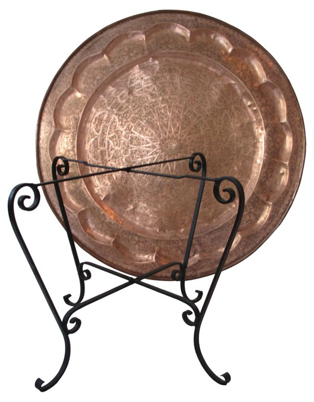Hand-Tooled Moroccan Copper Tea Table