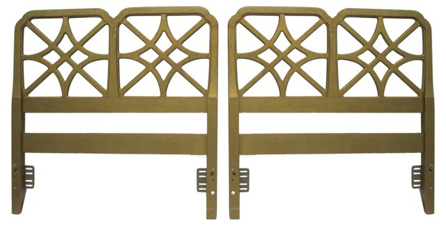 Fretwork Twin-Size Headboards, Pair
