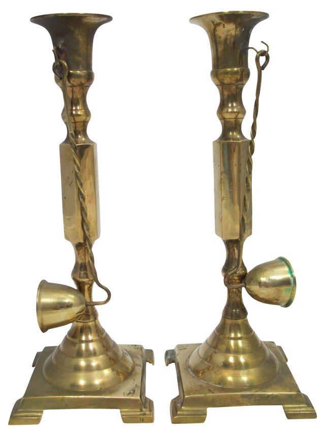 Brass Candleholders w/ Snuffers, Pair
