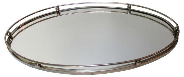 Deco Silver Mirrored Vanity Tray