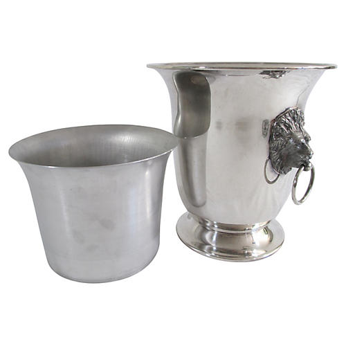 English Silver Champagne Bucket & Liner
