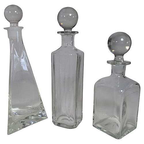 Midcentury Glass Decanters, S/3