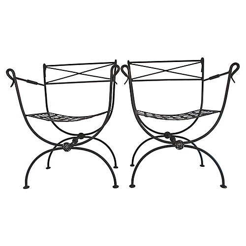 French Iron Jansen-Style Chairs, S/2