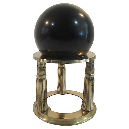Black Marble Sphere w/ Brass Stand