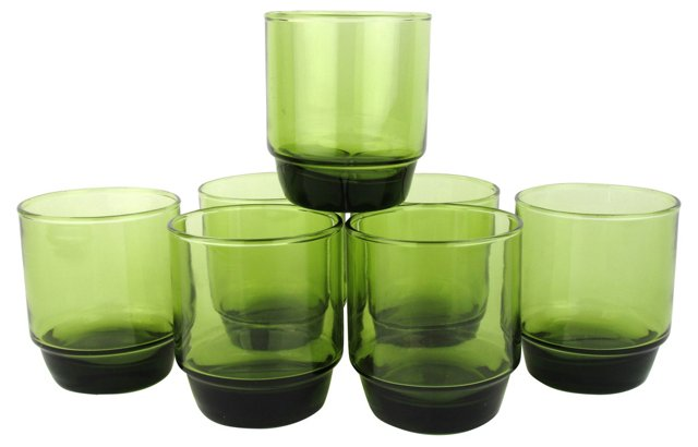 Italian Green Glass Tumblers, S/7