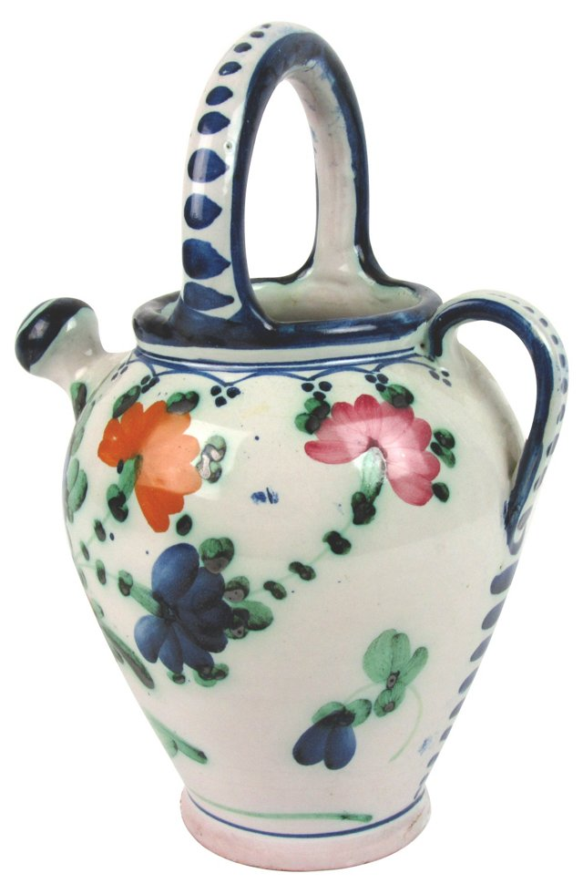 Tin-Glazed Hand-Painted Water Jug