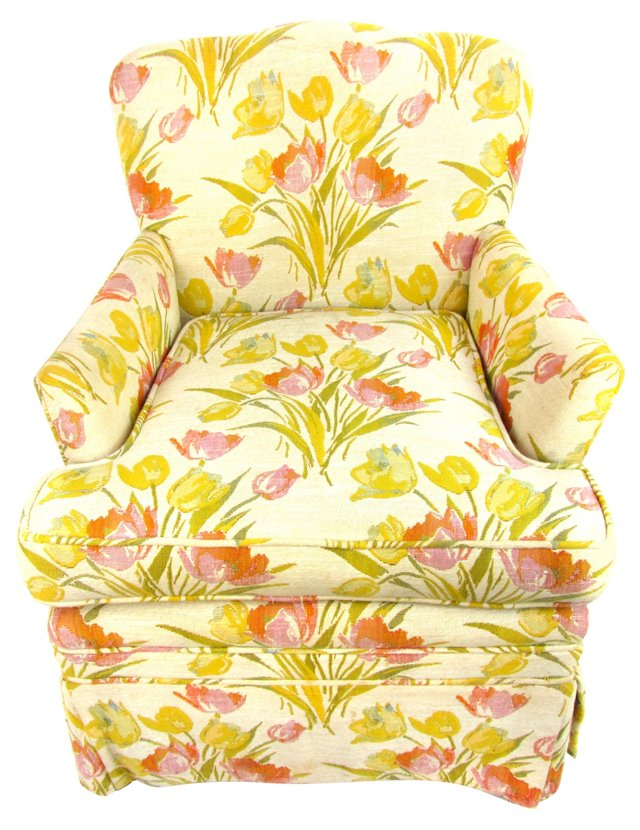 Slipper Chair w/ Floral Upholstery