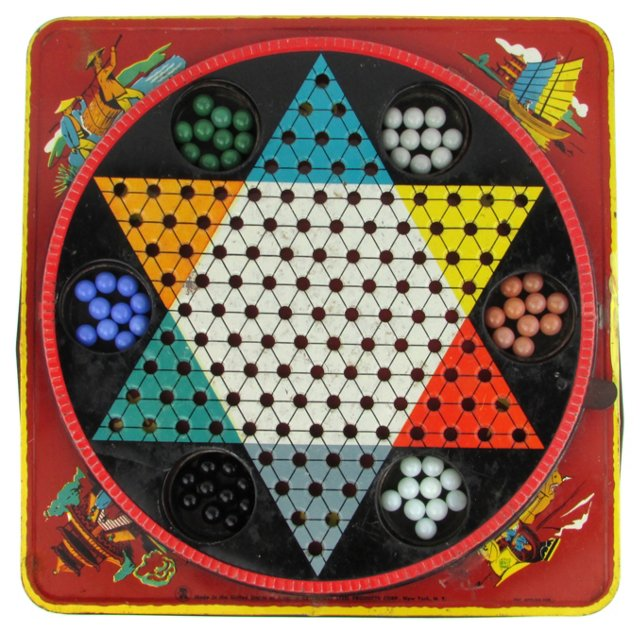 Tin Chinese Checkers Board w/ Marbles