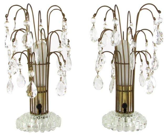 Crystal Boudoir Lamps, Pair