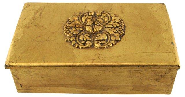 Gold Leaf Box w/ Ceramic Lid
