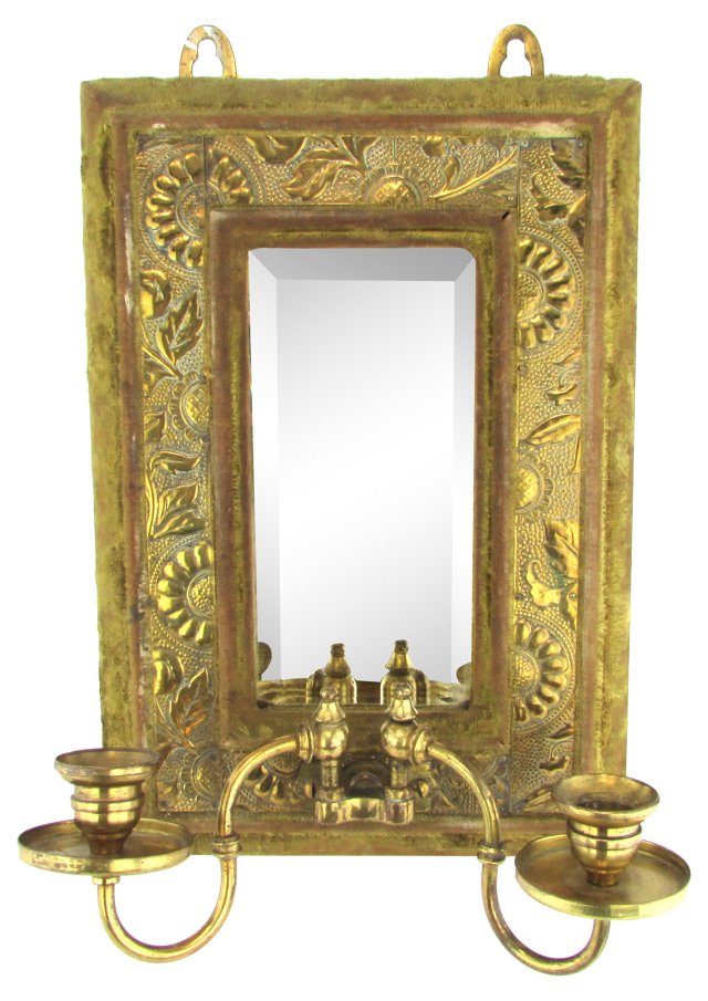 Antique Double-Candle Mirror Sconce