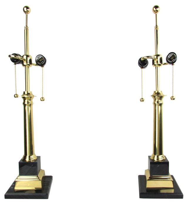 Marble & Brass Lamps, Pair