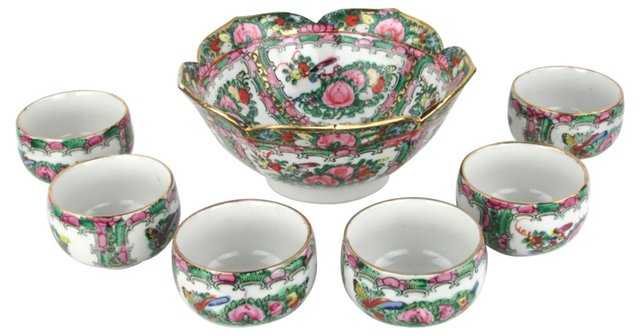 Chinese Porcelain Punch Set, 7 Pcs