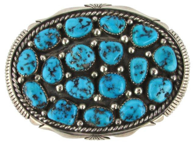 Turquoise Cluster Sterling Belt Buckle