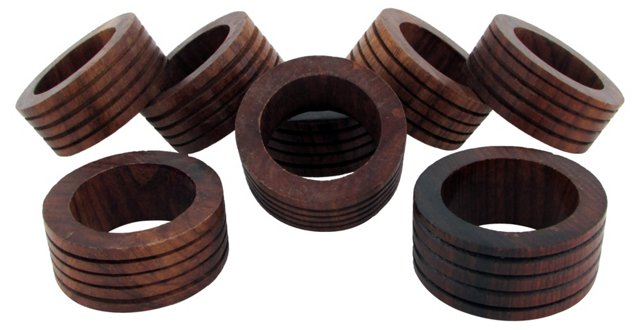 Wood Napkin Rings, S/8