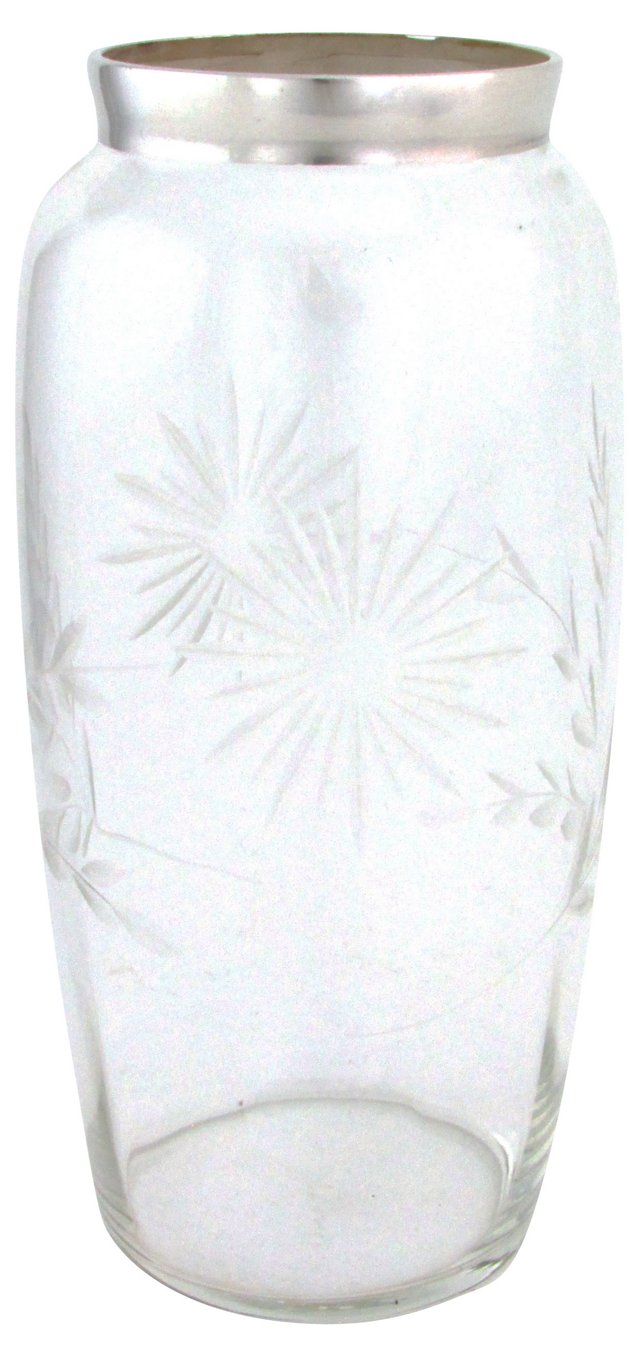 Silver Rim Vase w/ Cut Decoration