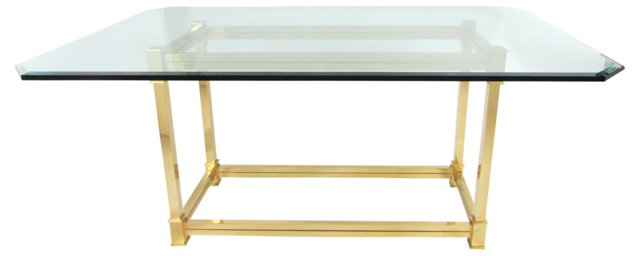 Beveled Glass Dining Table w/ Brass Base