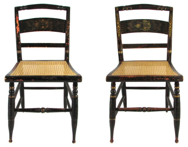 19th-C.  Hitchcock Chairs, Pair