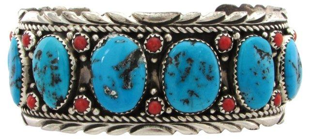 Navajo Cuff w/ Turquoise & Coral