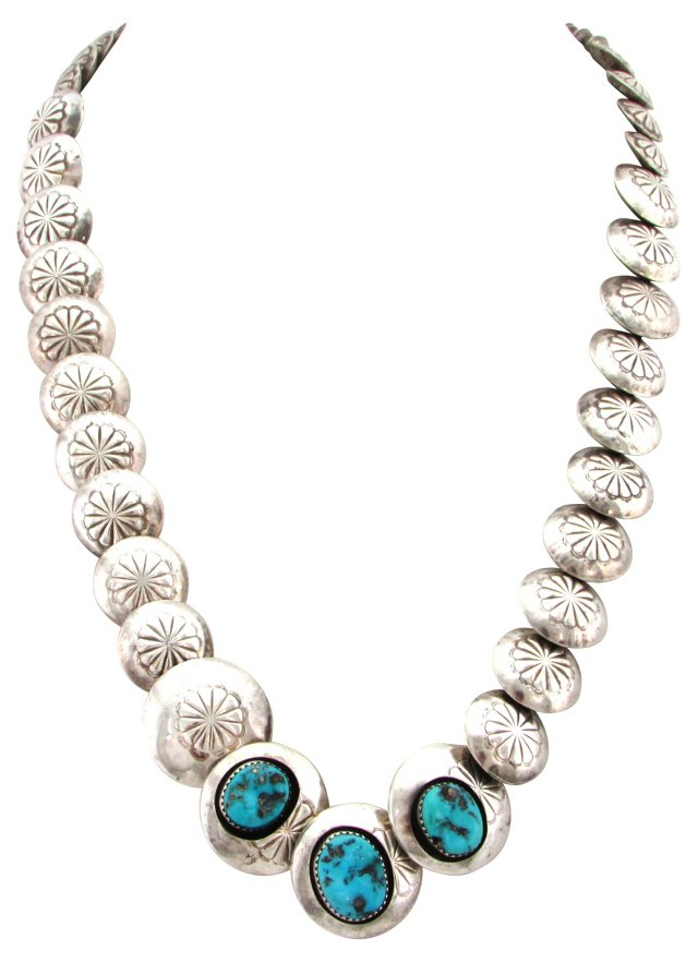Silver & Turquoise Navajo Necklace