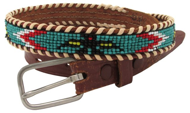 Southwestern Beaded Leather Belt