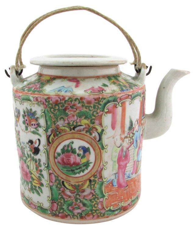 Antique Rose Medallion Porcelain Teapot