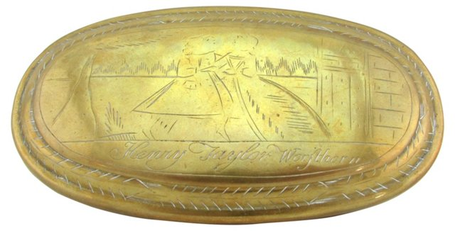 Engraved Antique English Brass Box