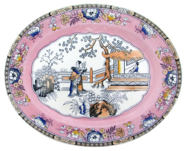 Antique English Chinoiserie Platter