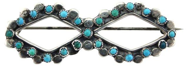 Diamond-Shaped Zuni Turquoise Brooch